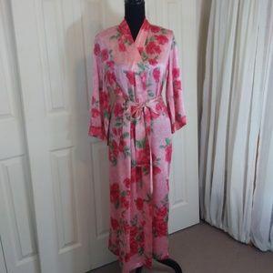 August Silk , 100% Silk Floral Robe